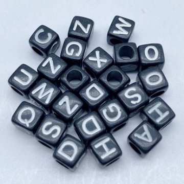Alphabets Black Base White Text (Square)