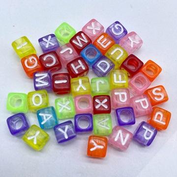 Alphabets Clear Colour Base White Text (Square 6mm)