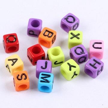 Alphabets Colour Base Black Text (Square 6mm)