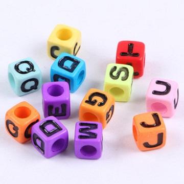 Alphabets Colour Base Black Text (Square 7mm)