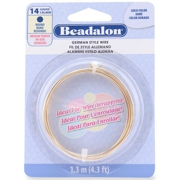 German Style Wire, Gold Color, 14 gauge