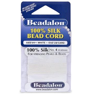 Beadalon Silk Thread, Size 04, White