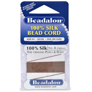Beadalon Silk Thread, Size 04, Brown