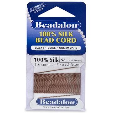 Beadalon Silk Thread, Size 06, Brown